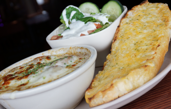French Onion Soup, Side Salad and Cheese Bread Combo